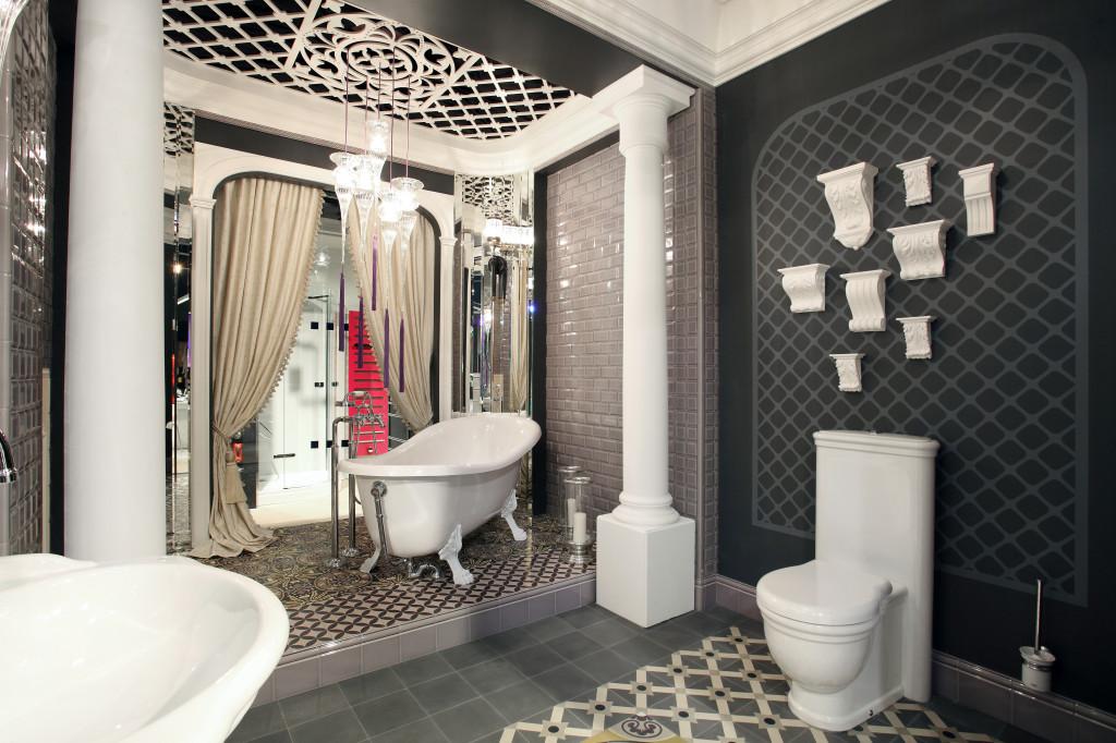 Zementfliesen Im Exklusives Badezimmer