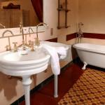 Rustikales Badezimmer mit Zementfliesen