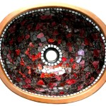 Waschbecken - rotes Glass
